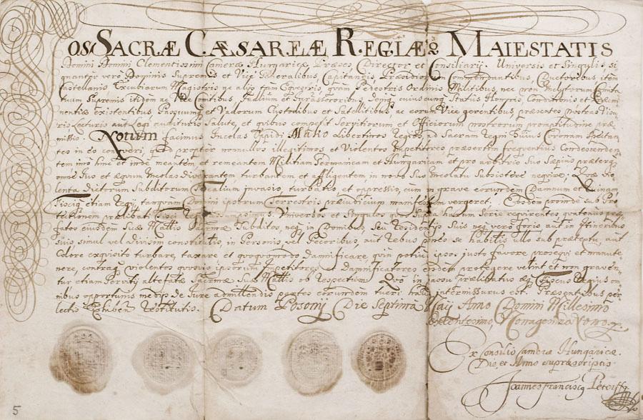 d0e30037d5 A pozsonyi magyar kamara telepítők levele: 1699. május 7.