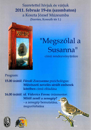 Meghívó a Megszólal a Susanna című rendezvényre a szentesi Koszta József Múzeumba