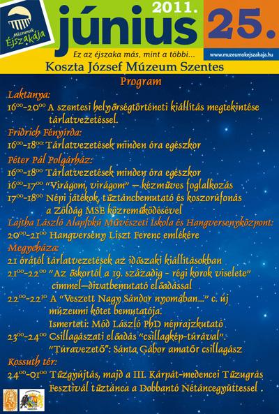 Múzeumok Éjszakája 2011 Szentes - Programok