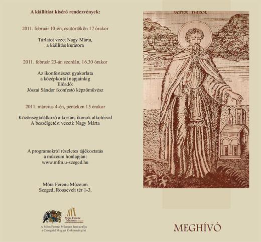 Ohridi Szent Naum magyarországi kultusza című kiállítás meghívó