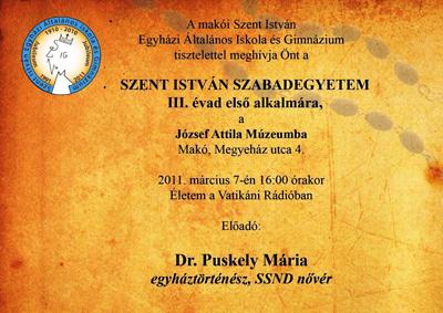 Meghívó a Szent István Szabadegyetem III. évad első alkalmára - 2011. március 7.