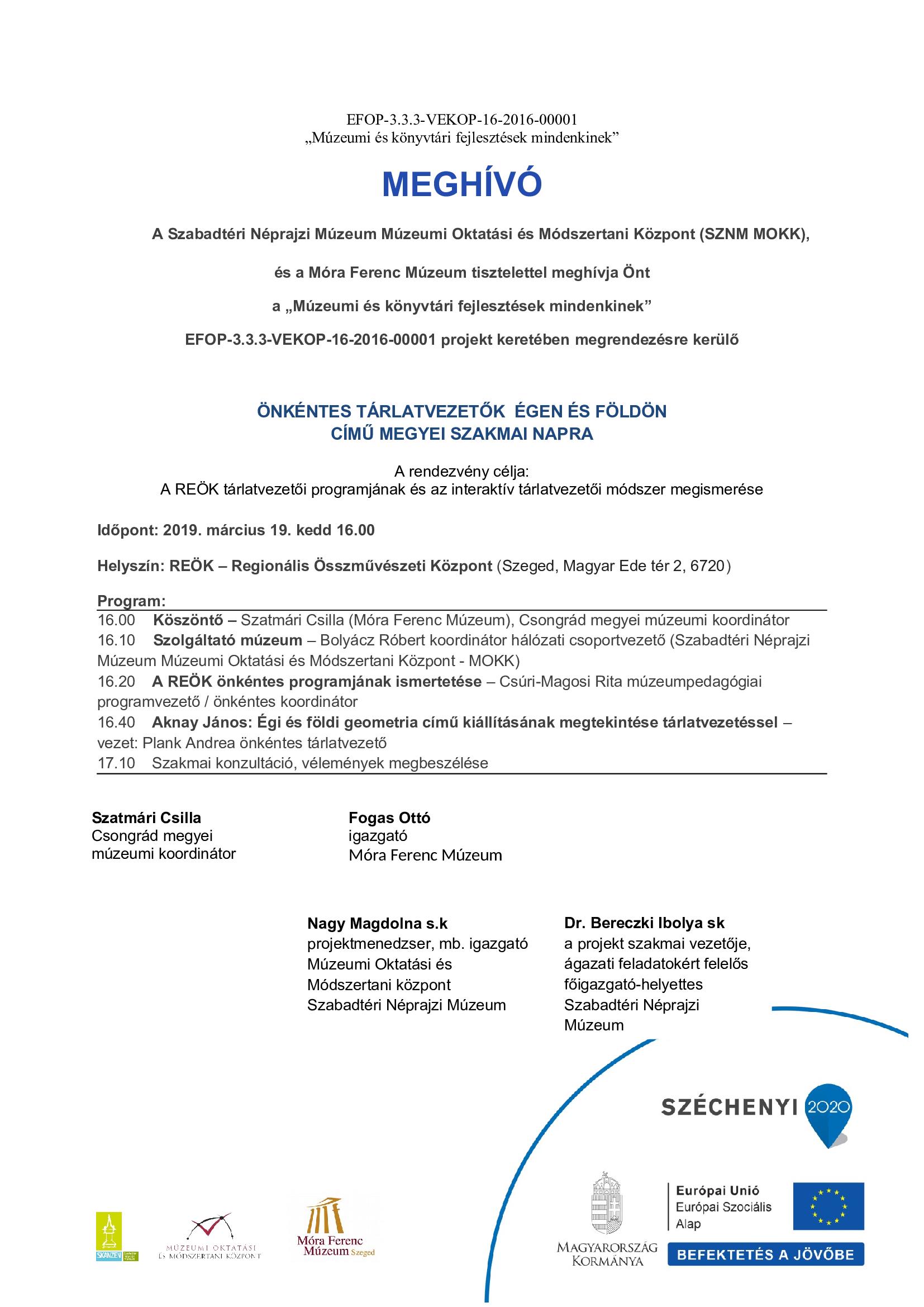 Meghívó -REÖK Önkéntes tárlatvezetői program